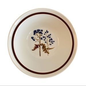 Vtg NORITAKE Stoneware Blue Flowers Bowl Japan